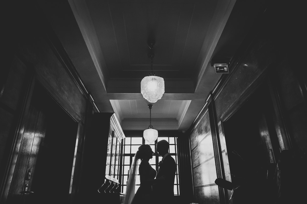 Town Hall Hotel wedding bride and groom silhouette