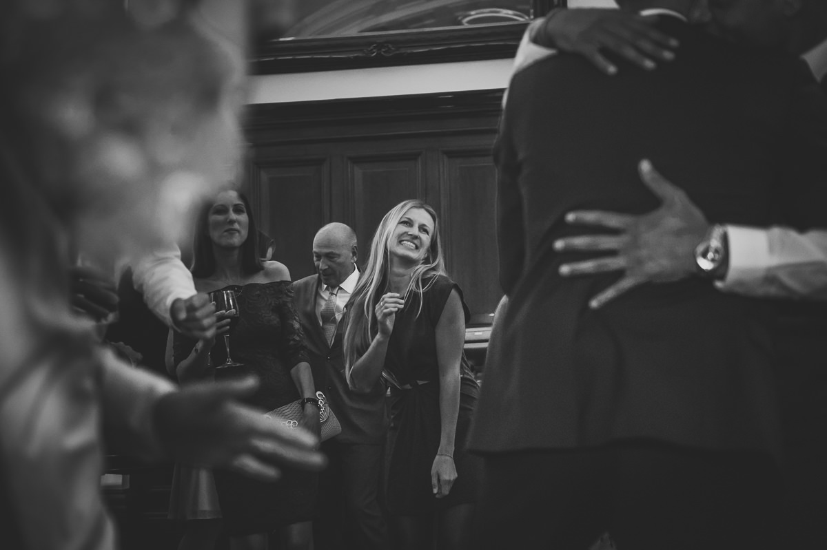 Guests dancing at town hall hotel wedding