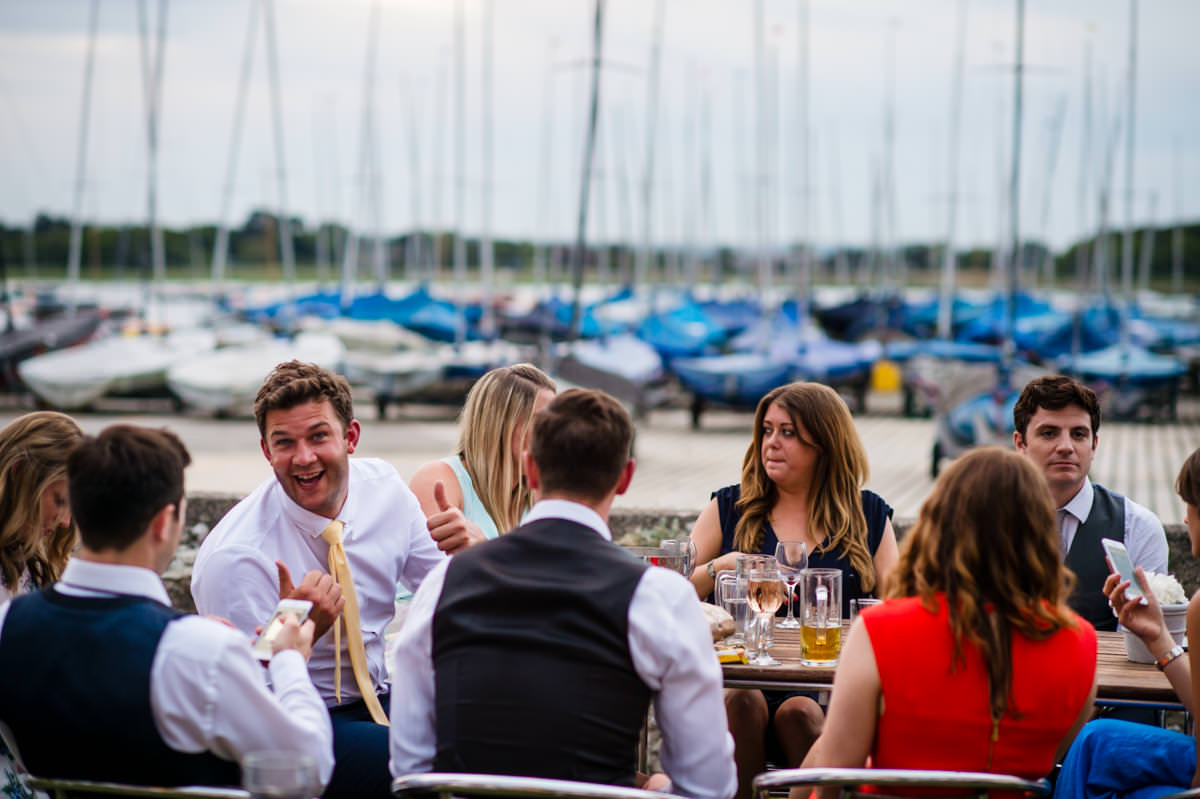 Wedding guests at Itchenor Sailing Club
