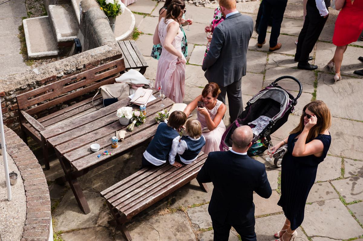 Guests mingling at wedding reception