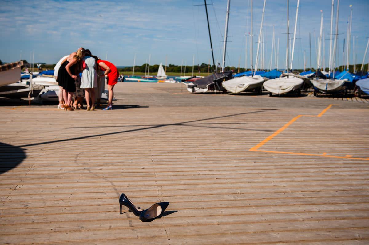 Guests taking selfies at Itchenor Sailing Club wedding