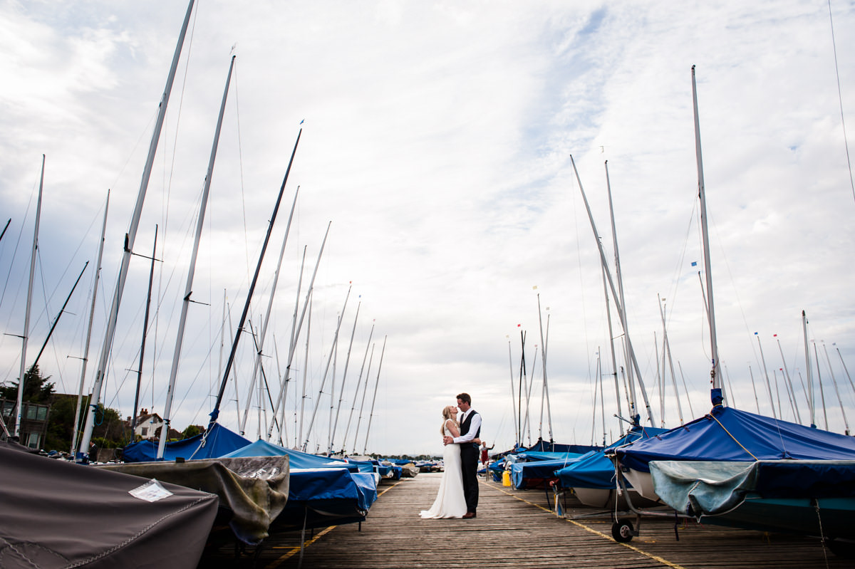 Bride and Groom at Itchenor Sailing Club wedding