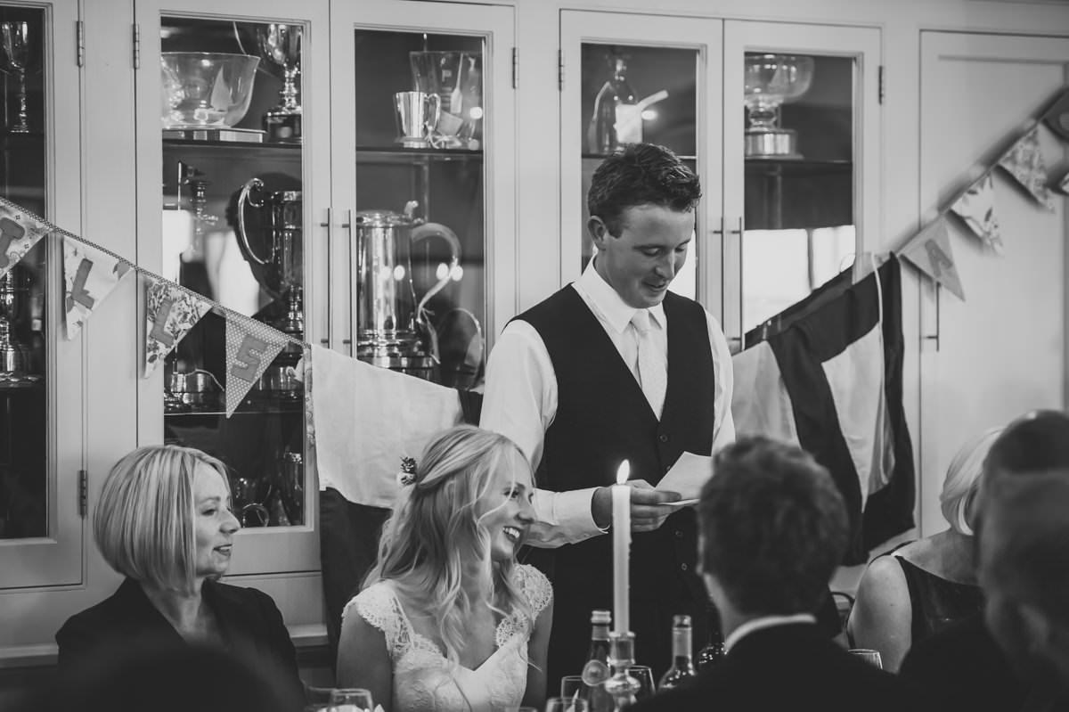 Groom making his wedding speech at Itchenor Sailing Club wedding