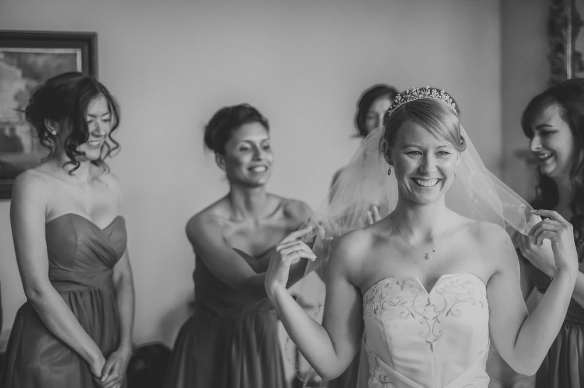 bride getting ready for her wiston house wedding ceremony