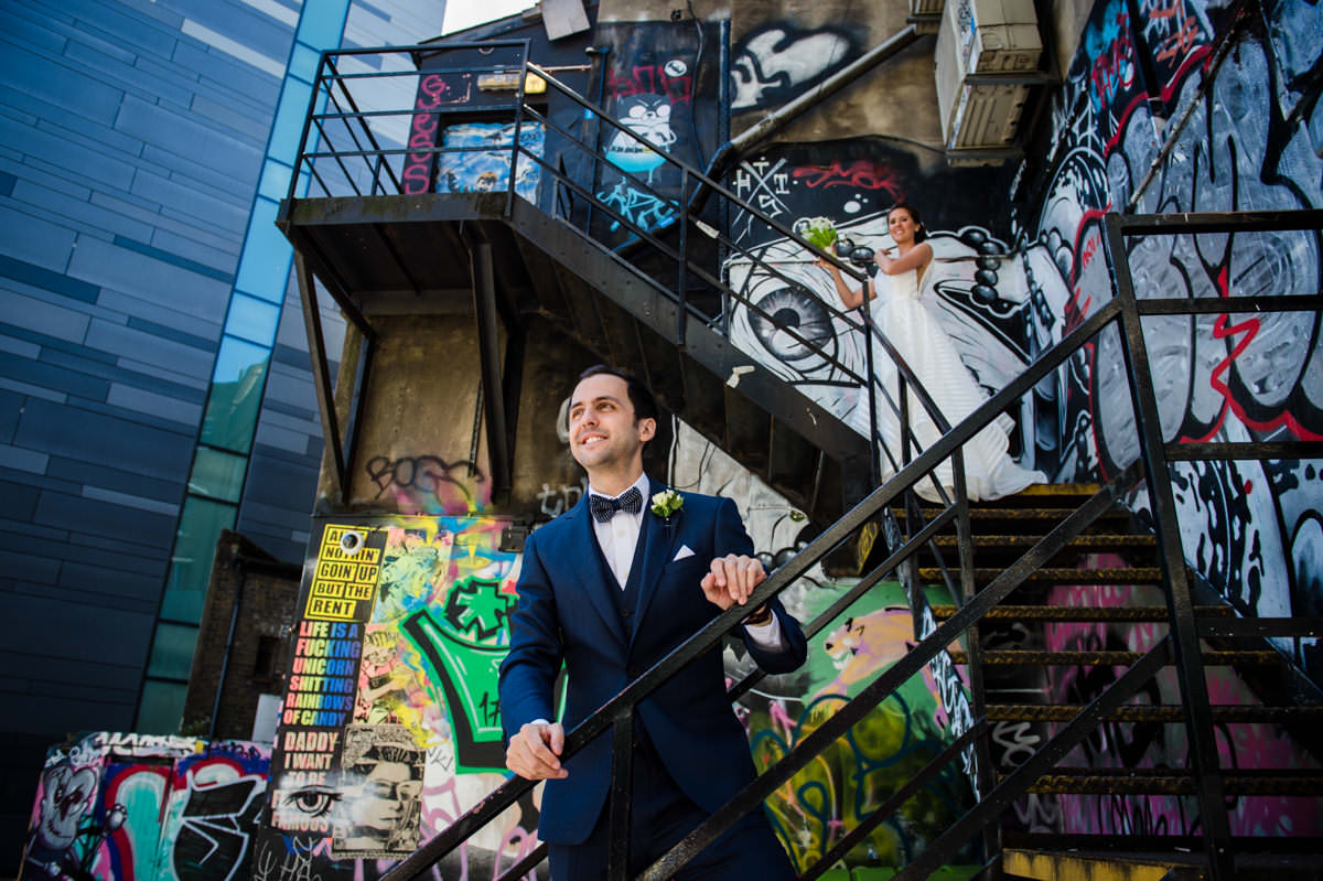 Photo of bride & groom in the side streets of Shoreditch London