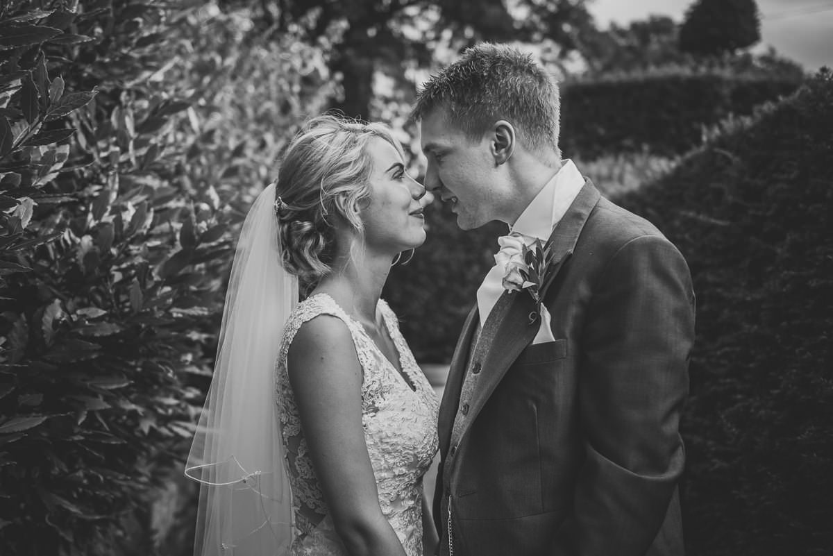 Bride & Groom photo in the garden of Arley hall