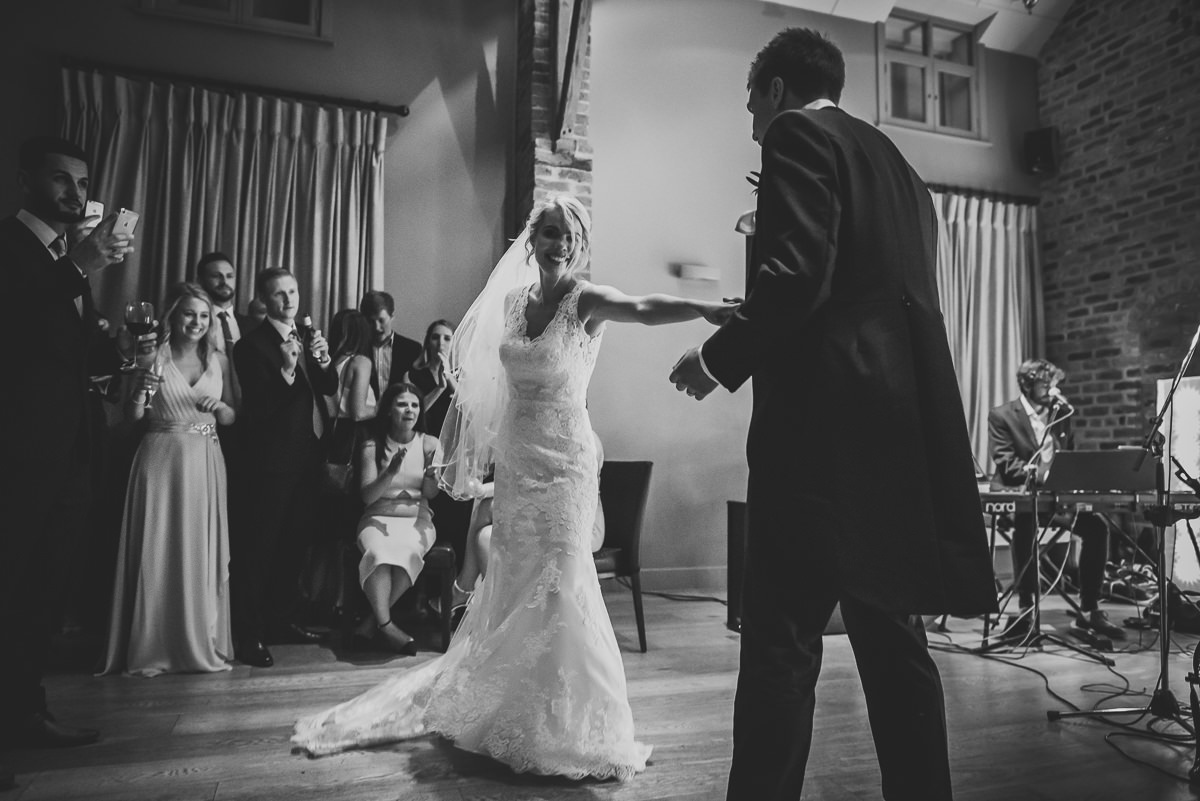 Bride & Groom at their first dance in the Olympia barn at Arley hall